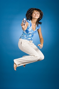 Jumping Woman Showing Phone