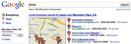 Screen Shot of Google SERP - Pizza Search