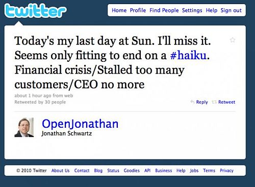 Jonathan Schwartz, Sun, Quits on Twitter